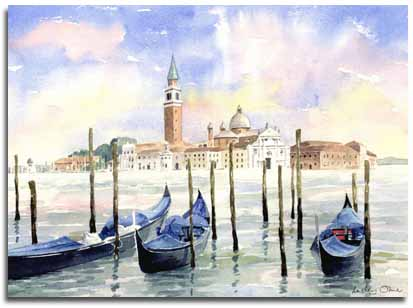 Print of watercolour painting of Venice, by artist Lesley Olver