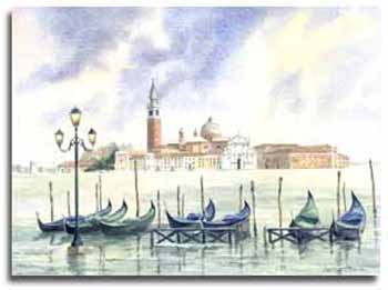 Original watercolour painting of Venice, by artist Lesley Olver