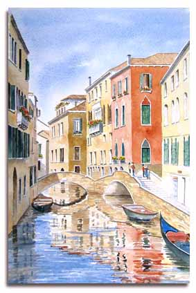 Original watercolour painting of Venice, by artist Lelsey Olver
