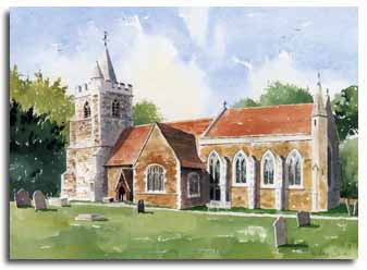 Print of watercolour painting of Warfield Church, by artist Leley Olver