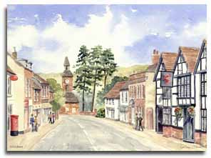 Print of watercolour painting of Wendover by artist Lesley Olver