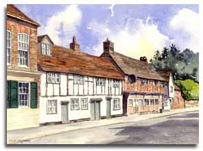 Print of watercolour painting of West Wycombe by artist Lesley Olver