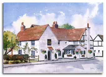 Print of watercolour painting of the 'White Hart' in Winkfield, by artist Lesley Olver