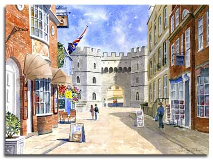 Original watercolour painting of Church Street, Windsor, by artist Lesley Olver