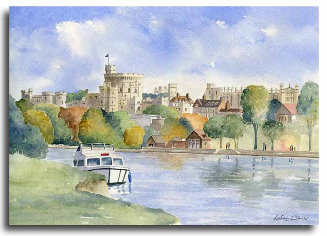 Original watercolour painting of Windsor Castle by artist Lesley Olver