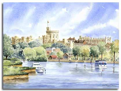 Original watercolour painting of Windsor Castle, by artist Lesley Olver