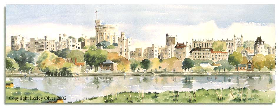 Limited edition print of Windsor Castle, by artist Lesley Olver