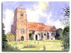 Original watercolour painting of St. Mary's, Winkfield, by artist Lesley Olver