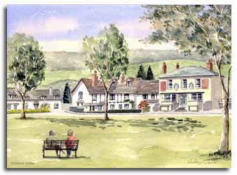 Print of watercolour painting of Wooburn Green by artist Lesley Olver